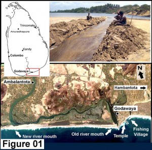 Figure 01 – Map of Sri Lanka, The Walawe River and artificial outlet at old river mouth