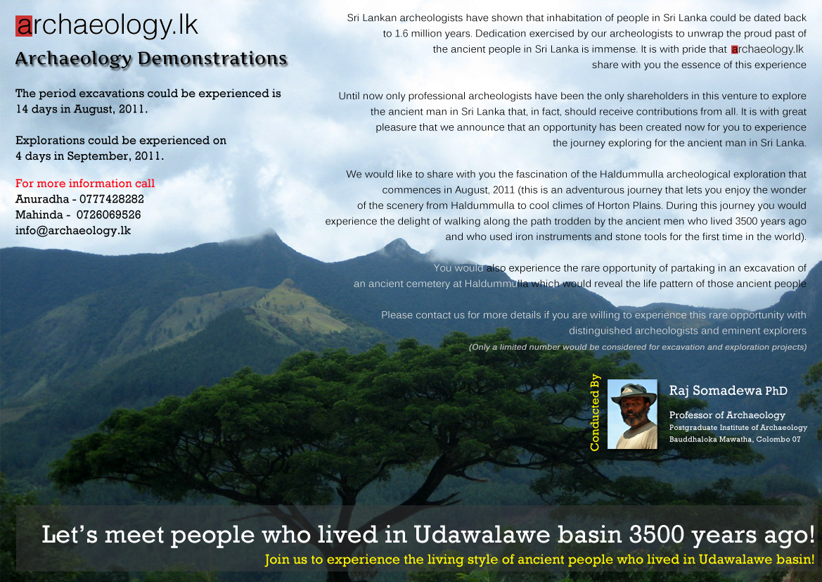 Archaeology Demonstrations: Let's meet people who lived in Udawalawe basin 3500 years ago!