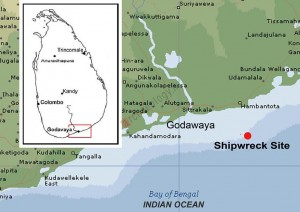 Figure 1. Map showing the location of the Godawaya shipwreck site