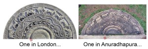 Comparison of moonstones in Anuradhapura and London