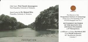 Invitation - Dr. Vidanapathirana - Settlement Patterns of the Malvatu Oya and Kala Oya Basins