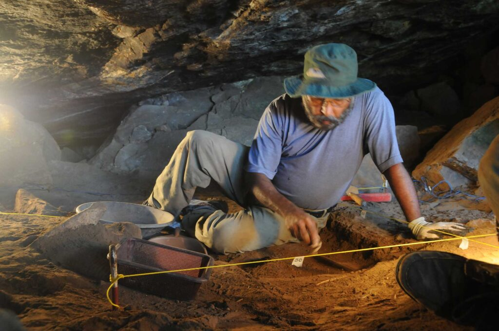 Prof Raj Somadva during the excavation