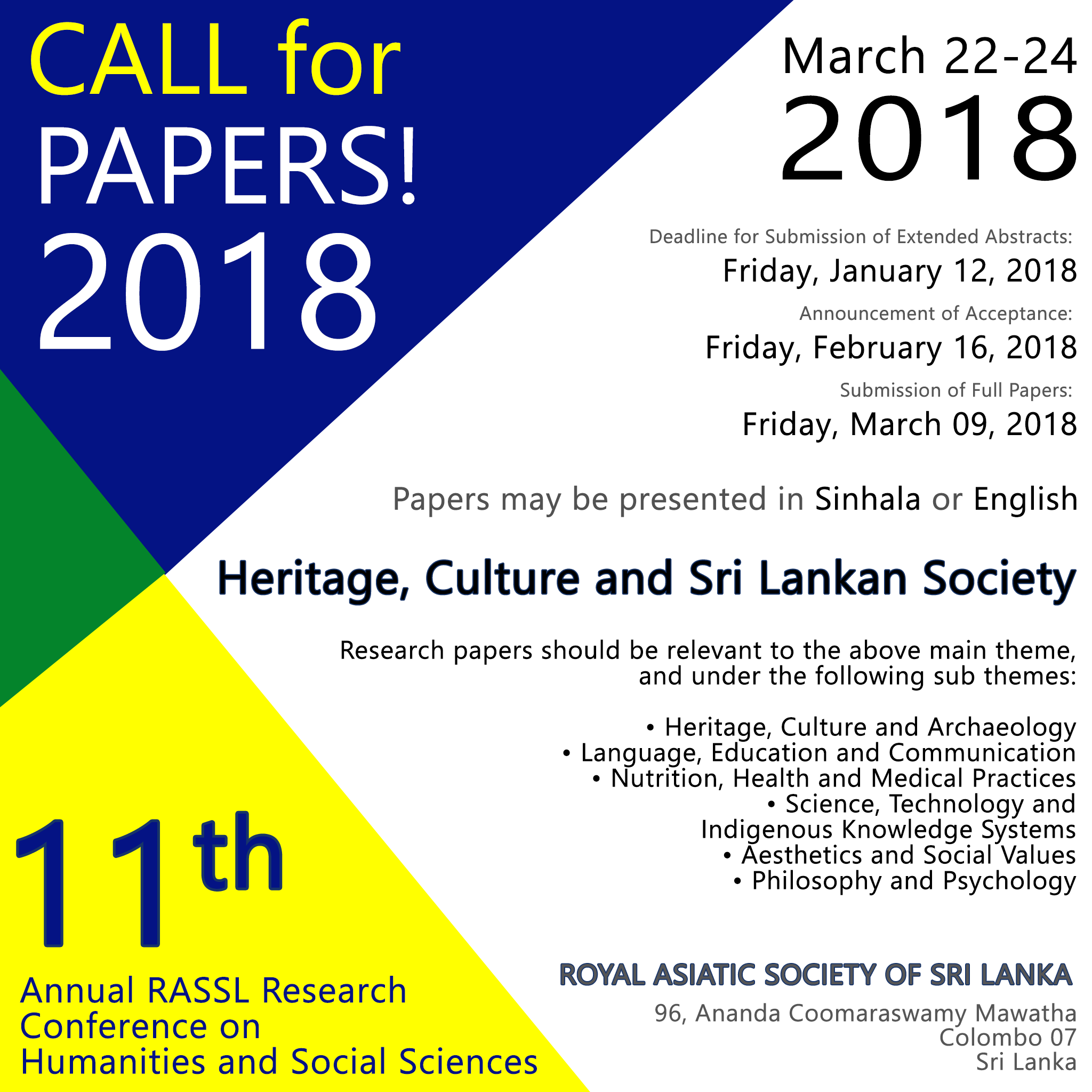Call for Papers - 11th Annual RASSL Research Conference on