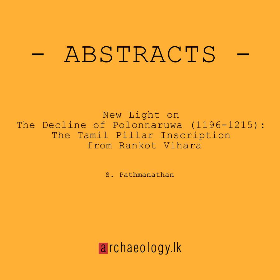 New Light on The Decline of Polonnaruwa (1196-1215): The Tamil Pillar Inscription from Rankot Vihara