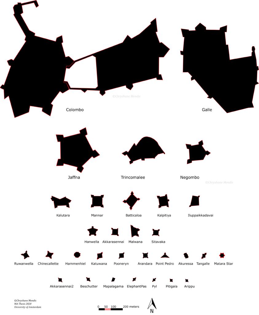 Comparison of Dutch Forts of Sri Lanka (Mendis, 2020).
