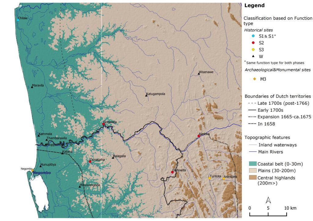 Distribution of all inventoried Dutch fortification sites – Western Sri Lanka around Maha Oya basin (Mendis, 2020)