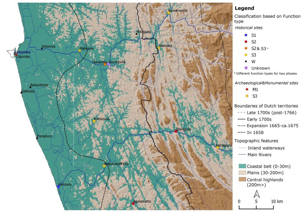Distribution of all inventoried Dutch fortification sites – Western Sri Lanka around Kelani Ganga and Kalu Ganga river basins (Mendis, 2020)