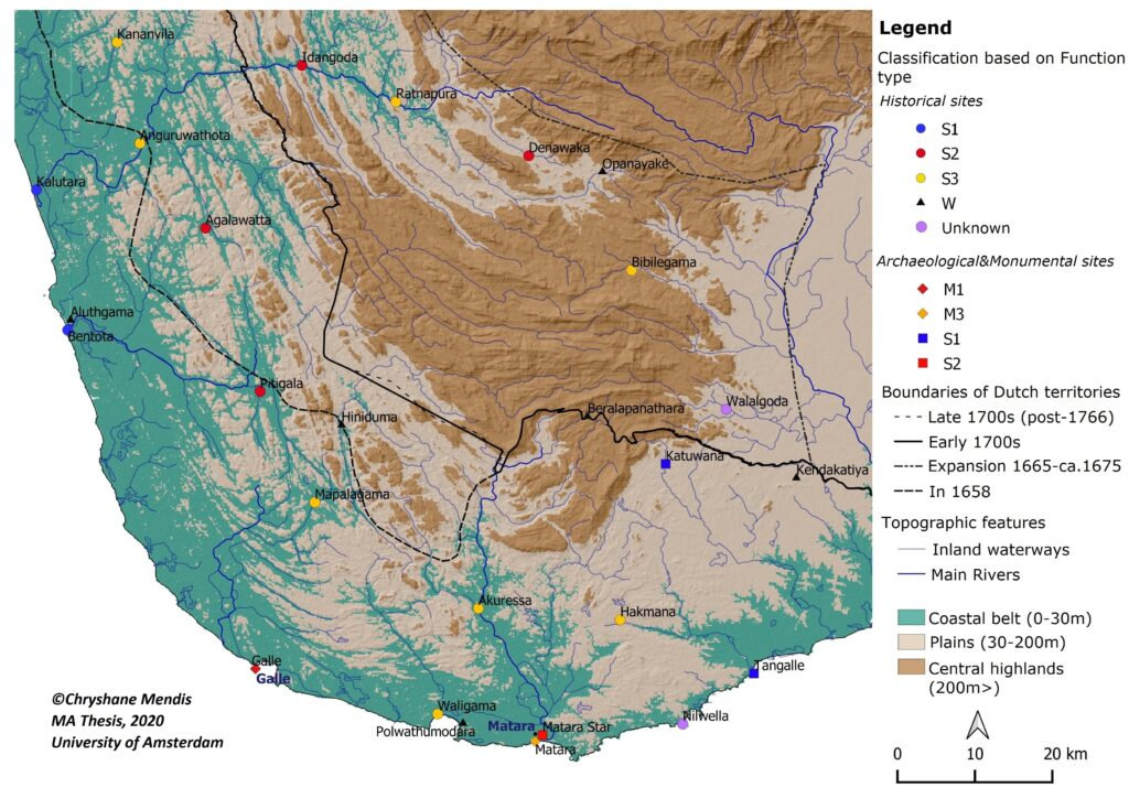 Distribution of all inventoried Dutch fortification sites – Southwestern and Southern Sri Lanka (Mendis, 2020)