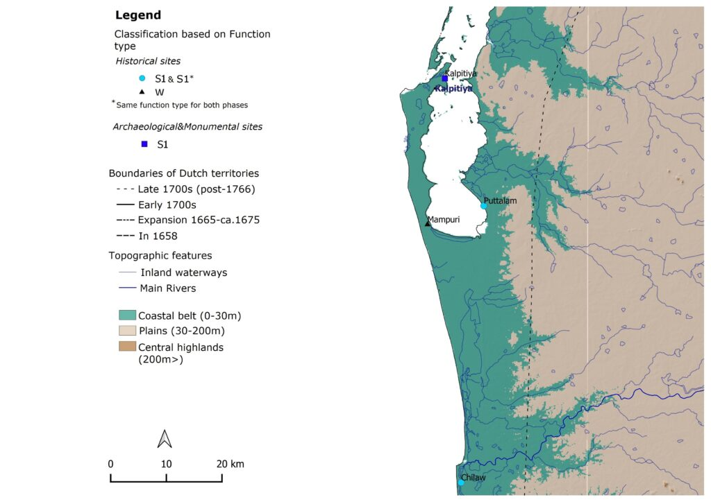 Distribution of all inventoried Dutch fortification sites – Western Sri Lanka around the Peninsula of Kalpitiya (Mendis, 2020)