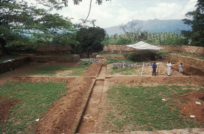 General view of the excavation at Katuwana fort, looking west, R.M. Jayasena, 2000